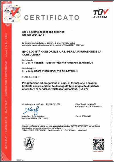 certificato iso 9001 consorzio epic